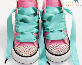 Infant, Toddler Baby Girl High Top Pink Converse® All Star® Chuck Taylor's® With Aqua Ribbon Laces & Swarovski® Bling Crystal Rhinestones