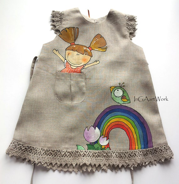 Girls gray linen dress lace painted dress hand painted on for Fabric for children s clothes