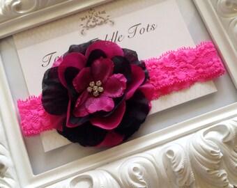 Hot Pink and Black Rhinestone Center Organza Silk Flower Headband, Baby Girl Headbands, Newborn Headband, Infant Headband, Photo Prop