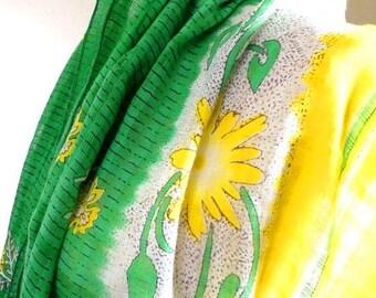 Green Scarf, Green Cotton Scarf, Summer Scarf, Yellow Scarf, Floral Scarf, Tribal Scarf, Vintage Sari Scarf