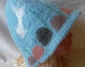 Sauna Hat  Water  Handmade.Felted bath cap. Wool sauna hat.