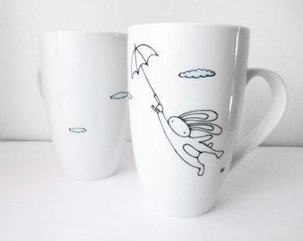 Flying Bunny with Umbrella Hand Painted Porcelain Coffee Tea Mug, Kitchen Decor, Housewarming gift, Cute Mug, Creative Mug, Birthday Gift