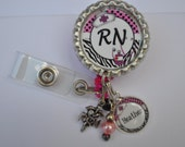 Personalized RN Badge Reel-- You choose Charm, nurse id, id tag, retractable id, caduceus charm, badge holder, badge clip, name badge holder