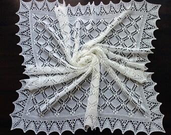 Lace baby blanket, handknit christening heirloom baby shawl, Estonian lace