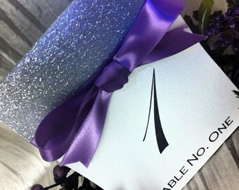 Table numbers, Silver and purple table number, Silver and purple table names