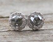 Rose Cut Slate Gray Diamond Stud  Halo Earrings in 14K White Gold