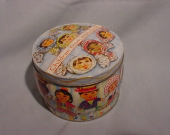 Candy Tin,w/ Lid Children From Many Lands, Made In England Very Colorful and Barrel Shaped