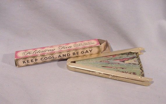 Vintage Foldaway Collapsible Fan Original Box Keep Cool Be Gay Flamingo