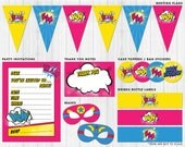 Pink Superhero Party Pack Printables // Digital files to print