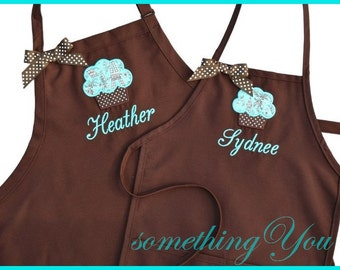 Mother and Daughter Cupcake and Name Custom Apron Set - Michael Miller Eiffel Tower Fabric Personalized Mommy and Me Brown Aqua Chocolate