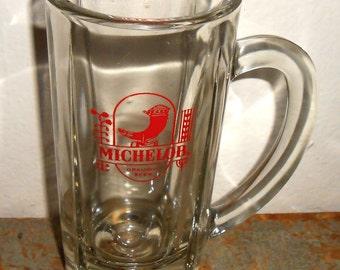 Vintage Mug, Michelob Beer, Tankard, Glass, Beer Stein, Michelob, Clear Glass, Beer Mug, Large, Beer Glass, Barware