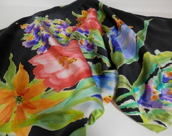 "Hand painted silk  charmeuse 36"" square scarf Multi colored floral  black background"