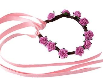 Boho Floral Garland for Hair Buns - PRETTY PINK