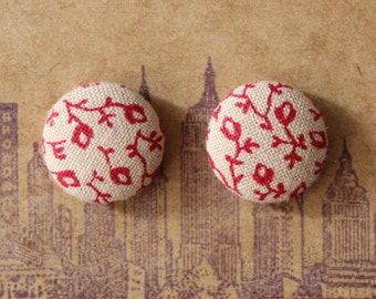 Button Earrings / Fabric Covered / Wholesale Jewelry / Hypoallergenic / Posts / Gifts for Her / Vintage Inspired / Brooklyn Made