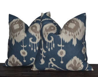24 Inch Yacht Blue Ikat Pillow Covers - TWO PILLOW COVERS - Blue, Tan, Ivory and Grey - Housewarming Gift - Pillows - Blue Pillow Covers