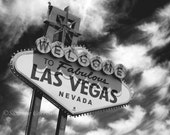 Welcome to Las Vegas, Famous Las Vegas Sign Las Vegas Strip, fine art photography, landscape, clouds, 8x10, home decor,