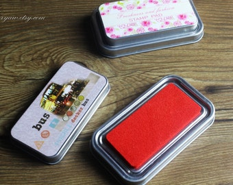Premium Quality Tin Box Packed Stamp Pad - Rubber Stamp Ink Pad - Stamp Ink - Red