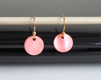Salmon pink mother of pearl earrings, little disc earrings, gold/silver small earrings, simple everyday jewelry.