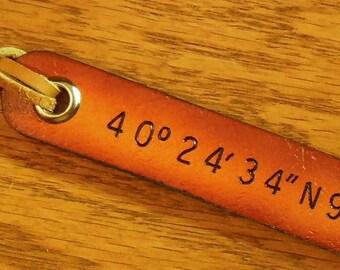 1 Long Line, Latitude Longitude, Custom Leather Luggage Tags, Personalize