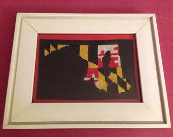 Maryland State Flag and Outline Completed Cross Stitch