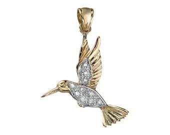 14K Yellow Gold Hummingbird Diamond Pendant
