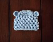 crochet baby bear beanie in light blue