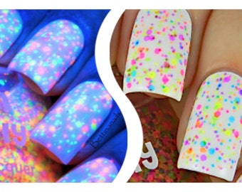 FRECKLES (neon):  Custom-Blended NEON Glitter Nail Polish / Lacquer/ indie polish