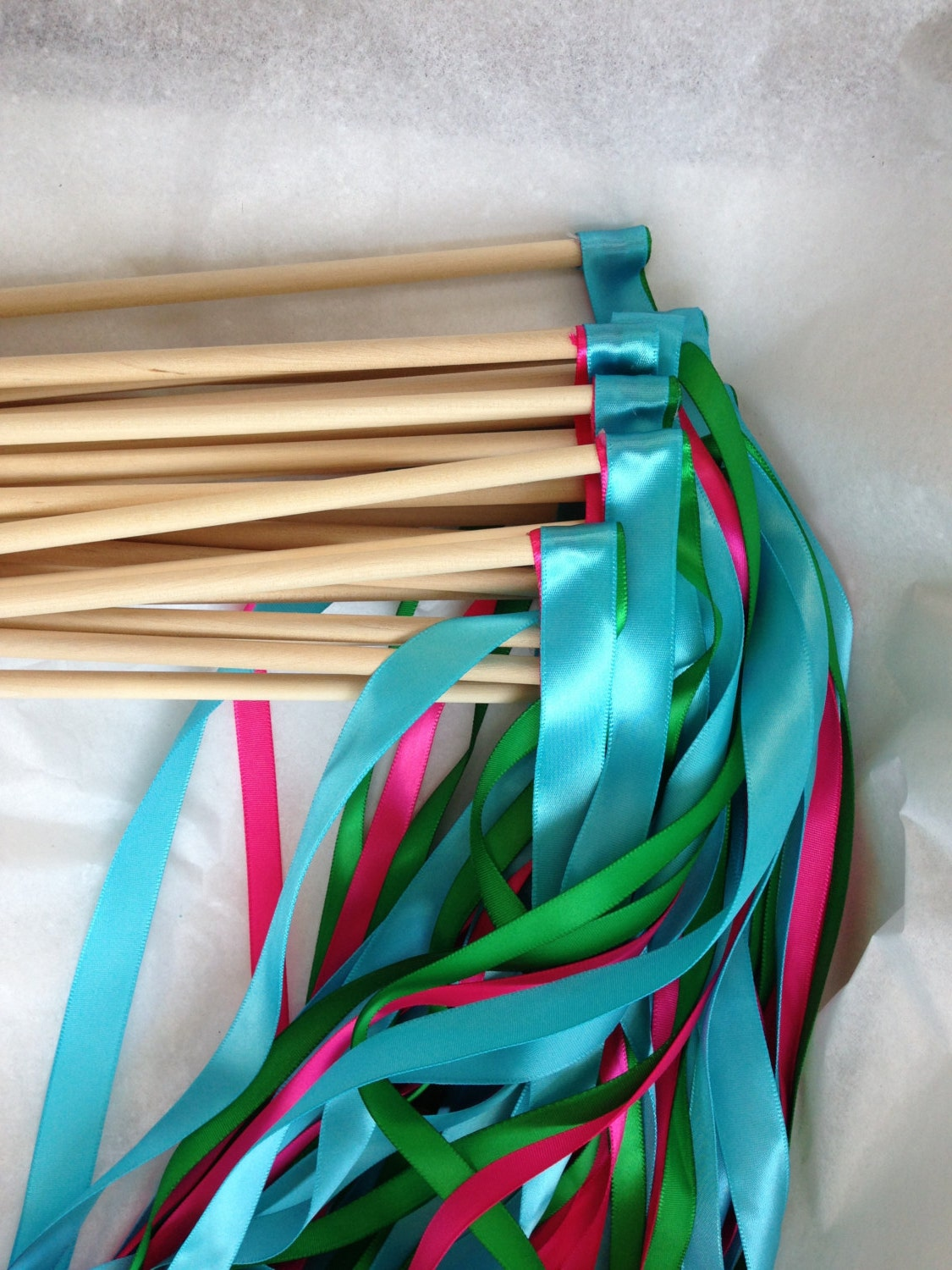 25 wedding ribbon wands two 3 8 inch ribbons by for Ribbon wands
