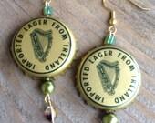 Harp Beer Bottle Cap Earrings - Great for St. Patrick's Day!