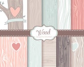 Wood grain digital Paper pack, Rustic, Wood pattern, native Indian, Pastel, shabby, Outdoor Wedding, carved heart,tree, Small Commercial use
