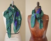 Vintage Christian Dior Scarf // Emerald and Blue Floral Scarf