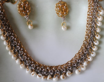 Wedding chainmaille necklace and earrings (#1)