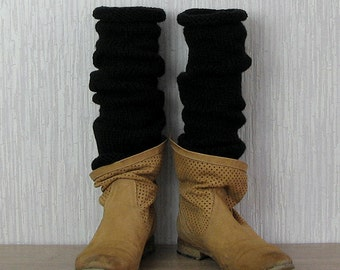 Black Leg Warmers - Mens Boot Cuffs - Reversible - Slouchy Leg Warmers - Seamless -Made to Order