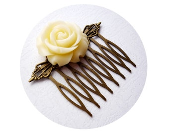 Ivory Bridal Hair Comb, Wedding Hair Accessories, Bridal Hair Comb, Ivory Flower Bridal, Ecru White Vintage Weddings,Bronze.