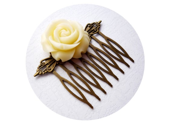 Ivory Bridal Hair Comb, Wedding Hair Accessories, Bridal Hair Comb, Ivory Flower Bridal, Ecru White Vintage Weddings,Bronze.