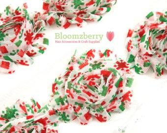 "2.5"" Shabby Rose Trim -Red/Green Snowflake - Christmas Shabby Rose Trim - Christmas Trim - Red/Green Shabby Trim -Hair Accessories Supplies"