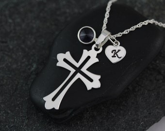Cross with initial on sterling silver Heart & Birthstone, Cross Jewelry, Sterling silver Silver Cross Necklace, Sterling Silver Jewelry,