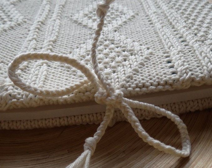 SECRETS - Sketchbook with an handknit cover - Pure cotton - off-white - other colors made to order