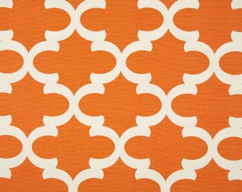 Ready To Ship / 50W x 108L Pair Rod Pocket Top Panels- Apache Orange Off White Quatrefoil Fynn