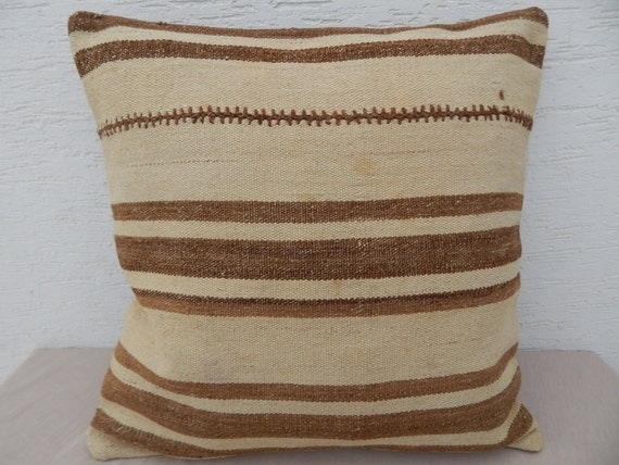 24x24 Cream and Brown Natural Historical Kilim Pillow Cover Organic Throw Boho Retro Pillow Rustic Decor  Shabby Chic Bohemian Home Decor