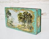 Green flat, rectangular tin box,Kemps chocolate biscuits, vintage