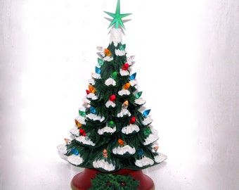 Small Ceramic Christmas Tree with faux snow- 10 inches with base-hand made Pine tree with light kit