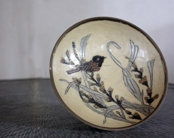 Vintage Brass Bowl Footed or Jewelry Tray with bird and floral elements - coloured glaze