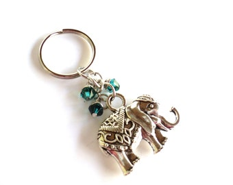Sacred Elephant Keychain Bag Charm Yoga Accessories Emerald Green Good Luck Party Favors Unique Gift For Her Birthday Under 20 Item A5