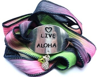 Live Aloha Silk Wrap Bracelet Hawaiian Inspirational Love Compassion Harmony Jewelry With Meaning Pineapple Gift For Her Under 50 C53