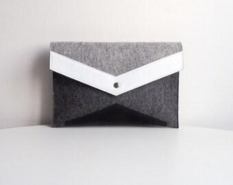 Gray White Black Felt Leather Clutch Bag