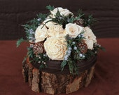 Rustic Winter Rose Wedding Cake Topper, Woodland Rose Wedding, Pine Cone Cake Topper, Wedding Cake Decoration, Winter Sola Flower CakeTopper