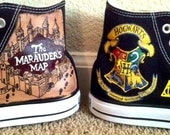 Hand Painted Harry Potter Shoes  - Marauder's Map/ Crest