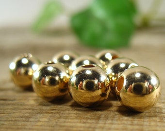 Gold Filled Round Seamless Bead 7mm 10 pcs R1170 - Gold Beads, Round Beads, 7mm Beads, Seamless Beads, Smooth Round Beads, Necklace Beads