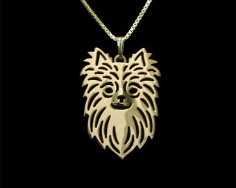 Long Haired Chihuahua - gold pendant and necklace.